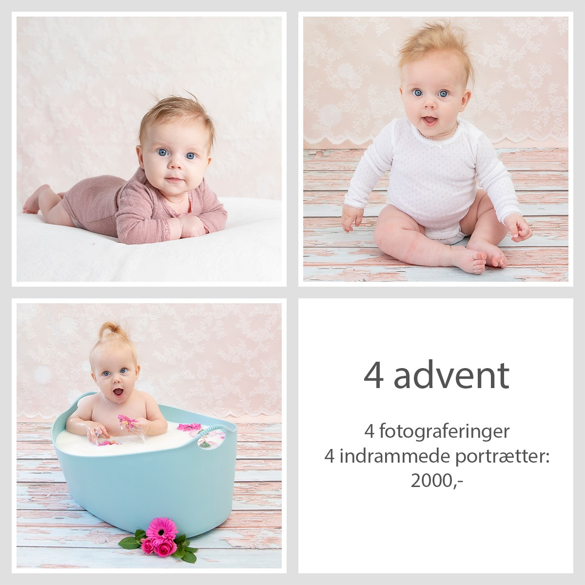 Pinkstudio by Angelina Devine 4advent Fjerde Advent: Kvartalspakke Baby Portræt Tilbud